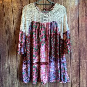 Umgee Boho Crocheted Patterned Bell Sleeve Dress